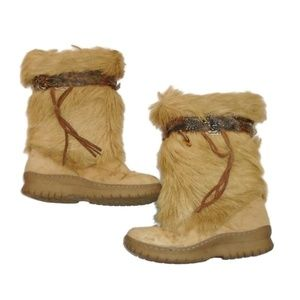 BearPaw Winter Snow Boots 9 Fur Feathers Tan Brown
